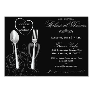 Spoon & Fork Wedding Rehearsal Dinner Invitations