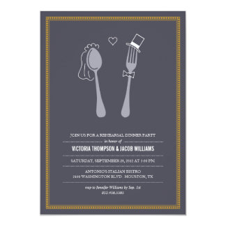 "Spoon Hearts Fork Rehearsal Dinner Invitations 5"" X 7"" Invitation Card"