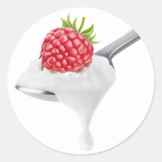 Spoon of raspberry yogurt classic round sticker