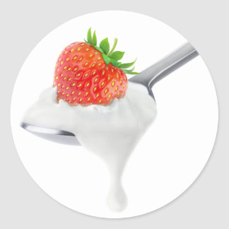 Spoon of strawberry yogurt classic round sticker