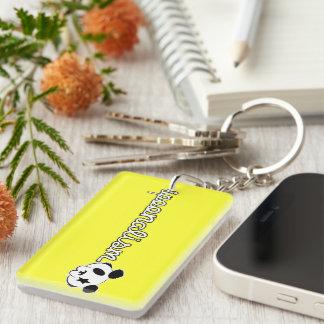 Spoonalism Panda Rock Single-Sided Rectangular Acrylic Keychain