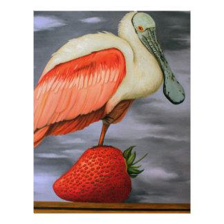 Spoonbill en una fresa membrete