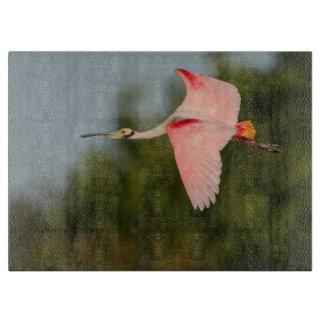 Spoonbill rosado en vuelo