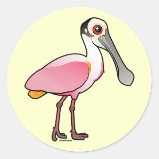 Spoonbill rosado lindo etiquetas redondas