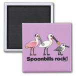 Spoonbills Rock! 2 Inch Square Magnet