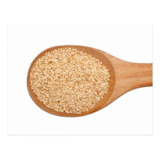 Spoonful of toasted sesame seeds postcard