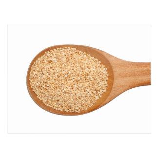 Spoonful of toasted sesame seeds postcard