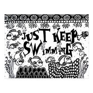 Spoonie-Just Keep Swimming-Chronic Illness Postcard