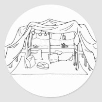 Spoonie-Pillow/Blanket Fort-Chronic Illness Classic Round Sticker