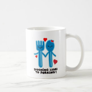 SPOONING LEADS TO FORKING CLASSIC WHITE COFFEE MUG