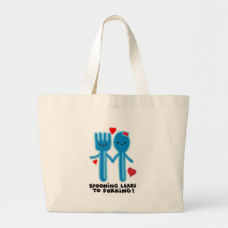 SPOONING LEADS TO FORKING LARGE TOTE BAG