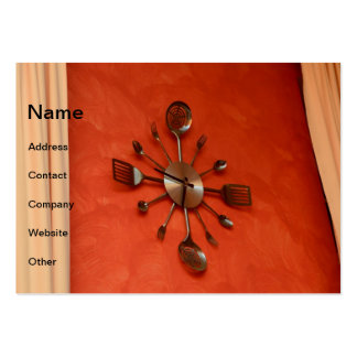 Spoons and forks clock large business cards (Pack of 100)