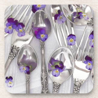 spoons and forks with violets beverage coaster