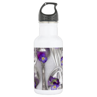 spoons and forks with violets stainless steel water bottle