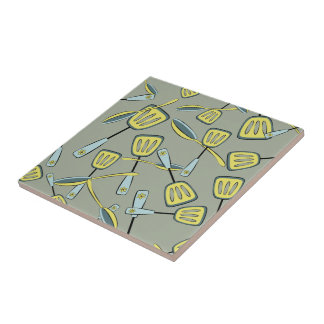Spoons and Spatulas Aqua and Yellow Pattern Ceramic Tile