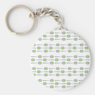 Spoons Pattern, with Green Splat. Keychain