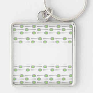 Spoons Pattern, with Green Splat. Silver-Colored Square Keychain