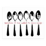 Spoons, Spoonful of Love Cute Black & White Recipe Postcard
