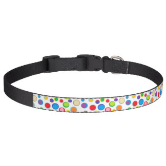 Sporadic Outlined Rainbow Polka Dots Pet Collar