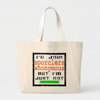 Sporclers Anonymous Jumbo Canvas Tote Tote Bags