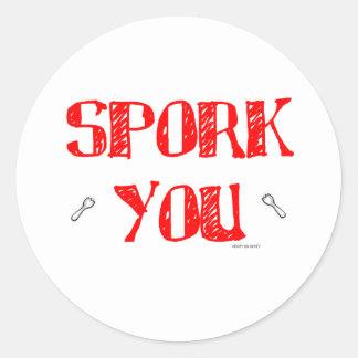 Spork You RD Classic Round Sticker