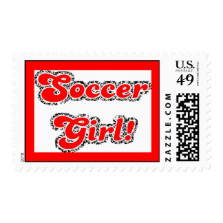 sport3 soccer girl sports fans red glitter text postage stamp