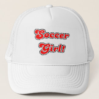 sport3 soccer girl sports fans red glitter text trucker hat