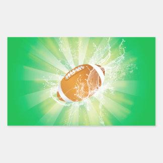 Sport, american football with water splash rectangular sticker