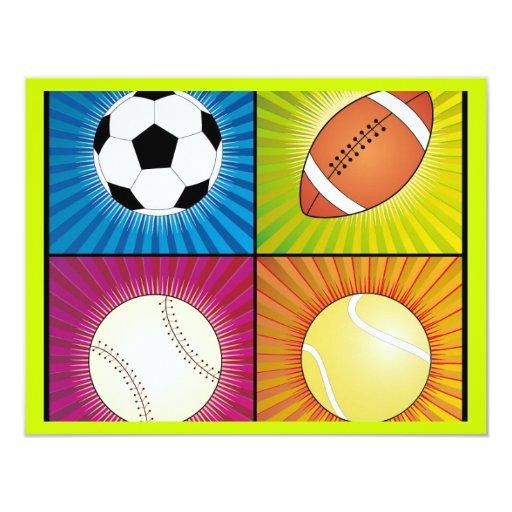 sport-balls 4.25x5.5 paper invitation card