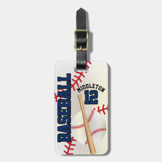 Sport Baseball | DIY Text - Navy Blue Luggage Tag