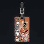 """Sport Basketball   DIY Text Luggage Tag<br><div class=""""desc"""">Basketball Luggage Tags - Add your name and number. More colors available. This DESIGN will quickly help you identify your bag or luggage very easily. 100% Customizable. Ready to Fill in the box(es) or Click on the CUSTOMIZE button to add, move, delete, resize or change any of the font or...</div>"""