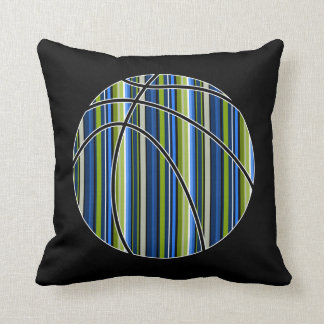 Sport Blue Green Striped Basketball Pillow