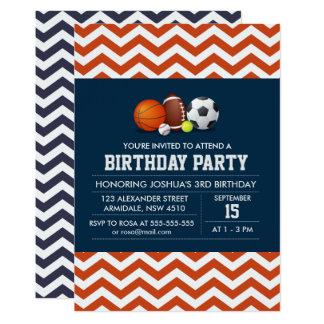 Sport chevron theme birthday boy party card