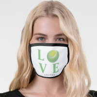 Sport Custom Tennis Ball Love Typography Monogram Face Mask