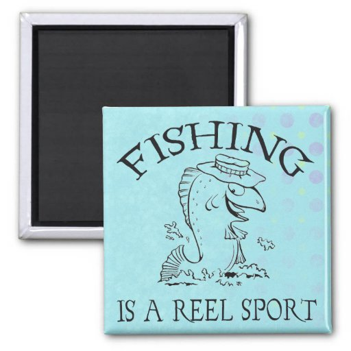 Sport Fishing 2 Inch Square Magnet