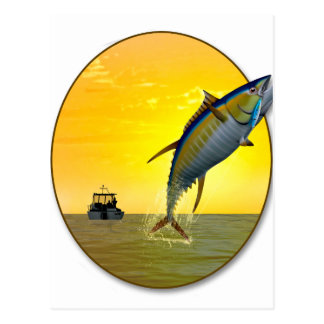 Sport Fishing at Dawn Postcard