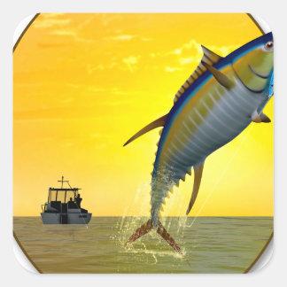 Sport Fishing at Dawn Square Sticker