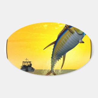 Sport Fishing at Dawn Oval Sticker