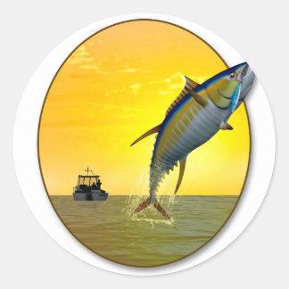 Sport Fishing at Dawn Classic Round Sticker