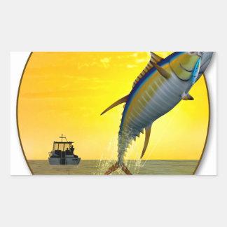 Sport Fishing at Dawn Rectangular Sticker