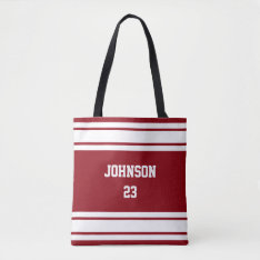 Sport Jersey Dark Red And White - Diy Text & Color Tote Bag at Zazzle