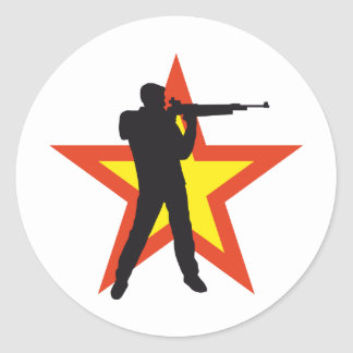 sport more shooter classic round sticker