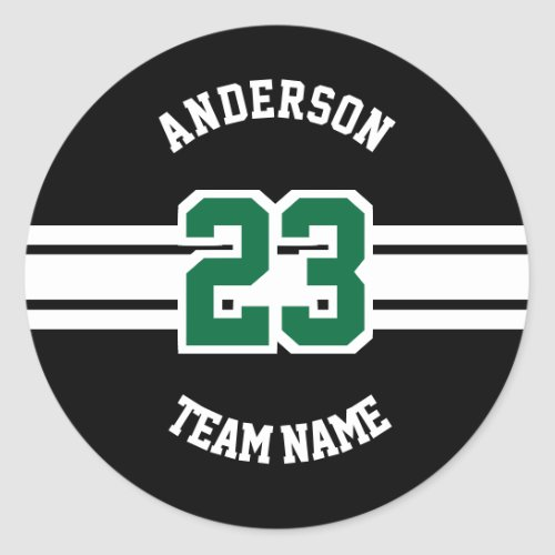 Sport Name Team and Number Designs Classic Round Sticker