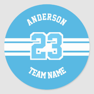 Sport Name, Team and Number Designs Classic Round Sticker