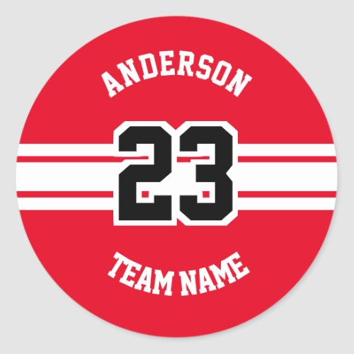 Sport Name Team and Number Red Designs Classic Round Sticker