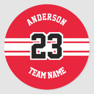 Sport Name, Team and Number Red Designs Classic Round Sticker