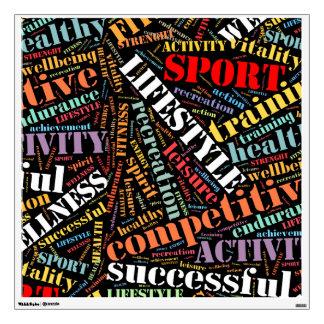 Sport related words pattern wall sticker