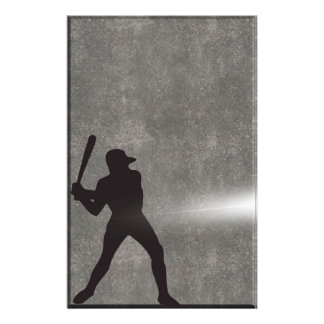 Sport Silhouette Baseball Player Stationery