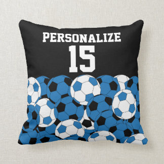 Sport Soccer Collage | DIY Name & Number | Blue Throw Pillow
