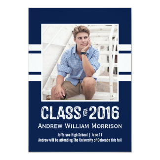 Sport Stripe Class of 2016 Photo Graduation Party Card